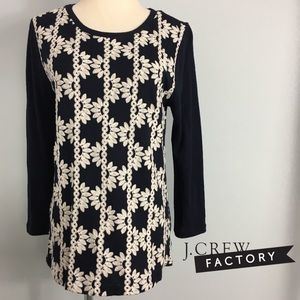 J. Crew Factory 3/4-sleeve navy embroidered tee